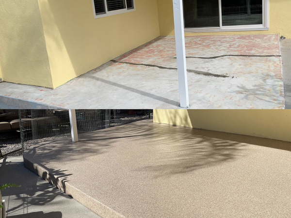 Before and after applying epoxy